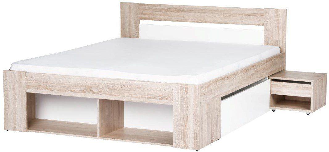 """Κρεβάτι ημίδιπλο """"SIGRID"""" σε φυσικό-λευκό χρώμα 146x205x86"""
