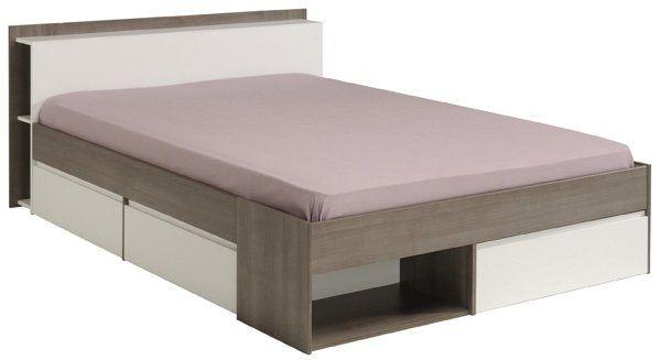 """Κρεβάτι διπλό """"TOUR"""" σε καρυδί-λευκό χρώμα 170x220x79"""