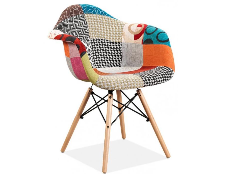 """Πολυθρόνα """"DOLCE ART"""" από ξύλο/ύφασμα πολύχρωμη 62x63x79"""