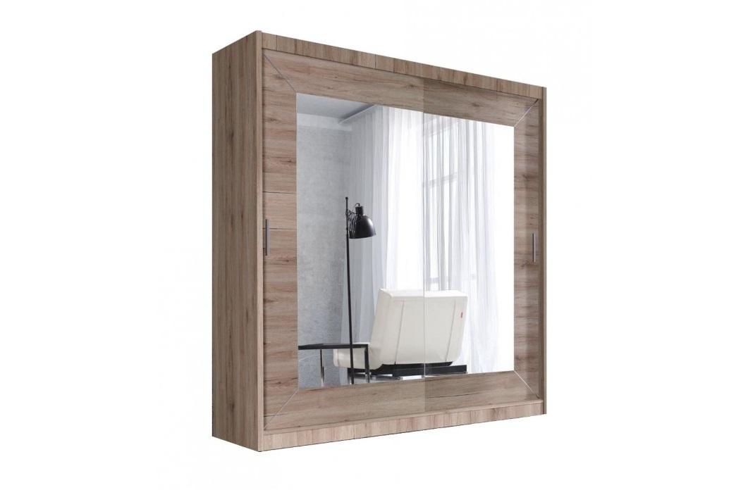 """Ντουλάπα """"VITA"""" με συρρόμενες πόρτες σε χρώμα καρυδί ανοιχτό 200x60x215"""