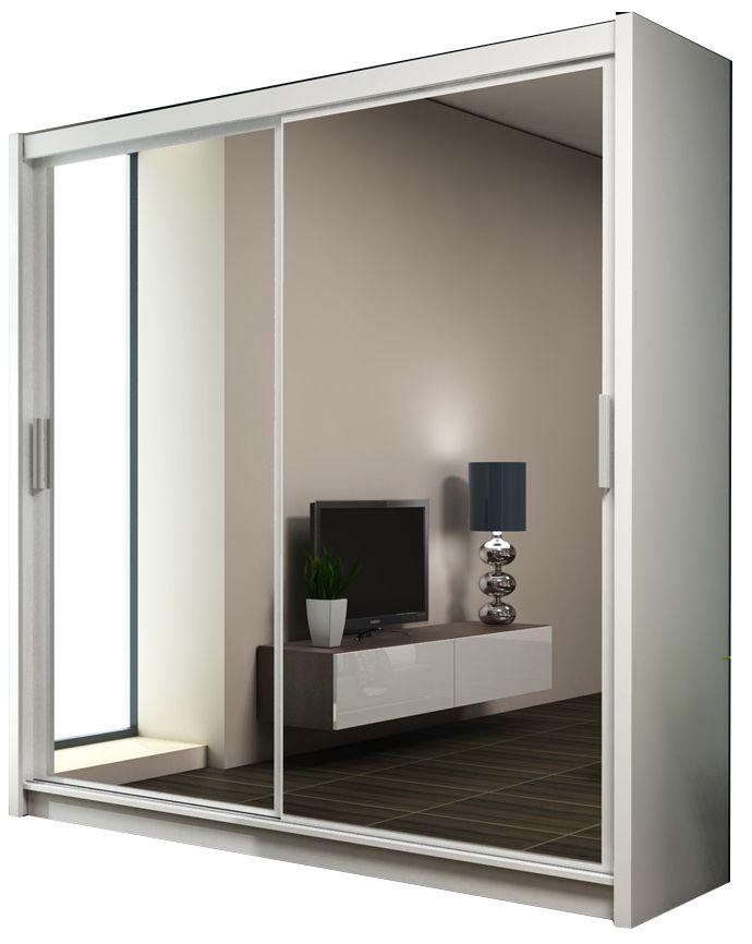 """Ντουλάπα """"PARIS"""" με συρόμενες πόρτες σε λευκό χρώμα 203x61x215"""